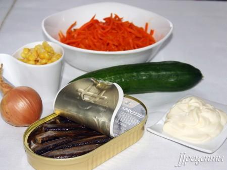 Ингредиенты для рецепта «Салат со шпротами»