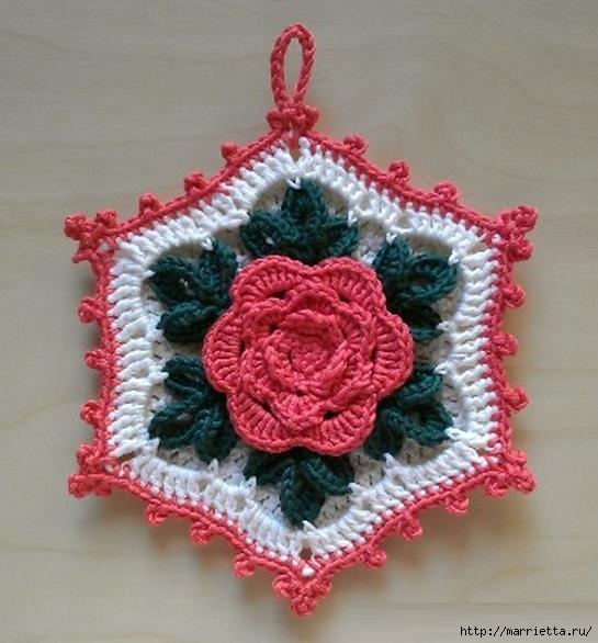 Вязание крючком. Прихватка с объемной розой (18) (545x586, 180Kb)