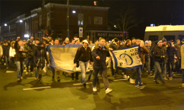 Болельщики «Динамо» прошлись маршем в Эйндховене перед матчем с ПСВ
