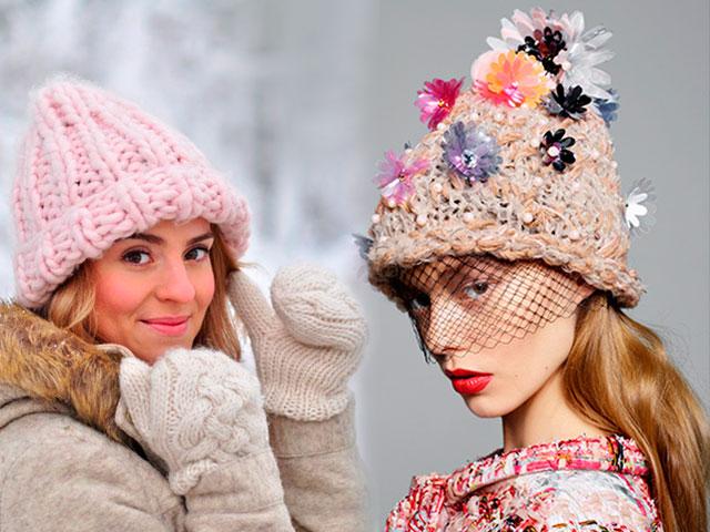 Актуальные вязаные шапочки на зиму 2016/2017
