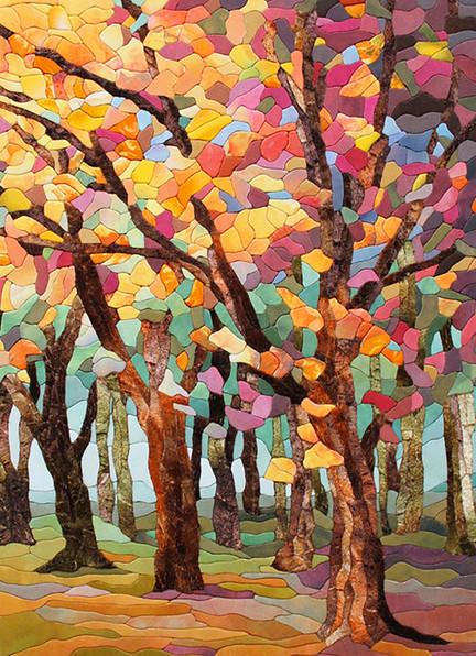 «Осенний лес»: картина в технике пэчворк без иглы…