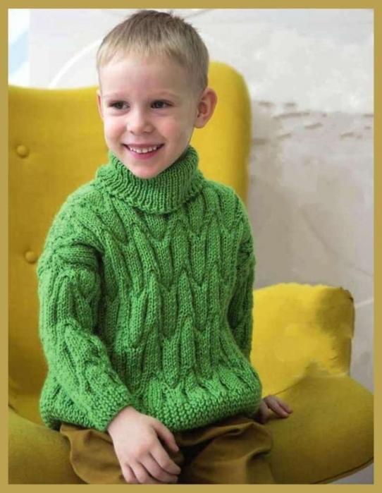 Зелёный свитер для мальчика