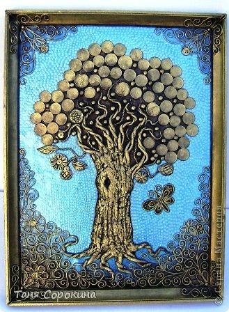 Картина панно рисунок Папье-маше Дерево богатства Пейп-арт Салфетки фото 1