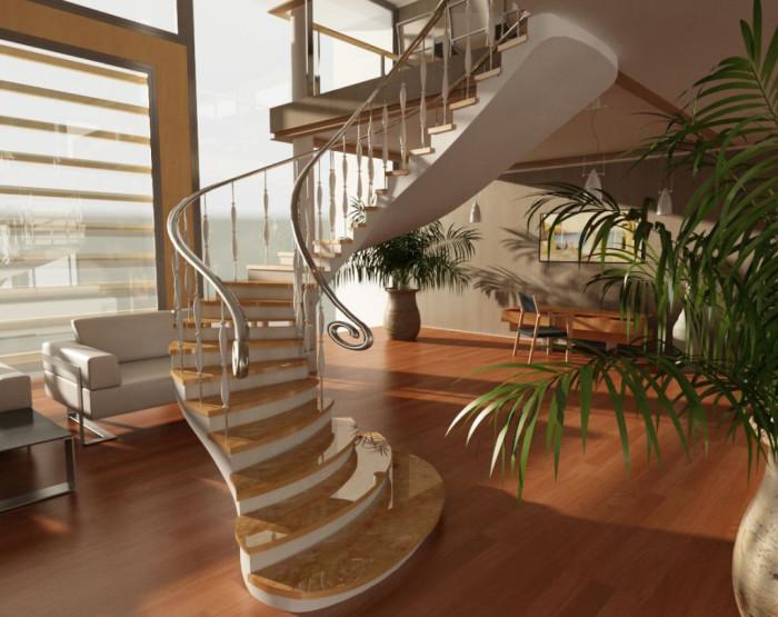 Очаровательная винтовая лестница из мрамора с тонкими хромированными металлическими перилами.