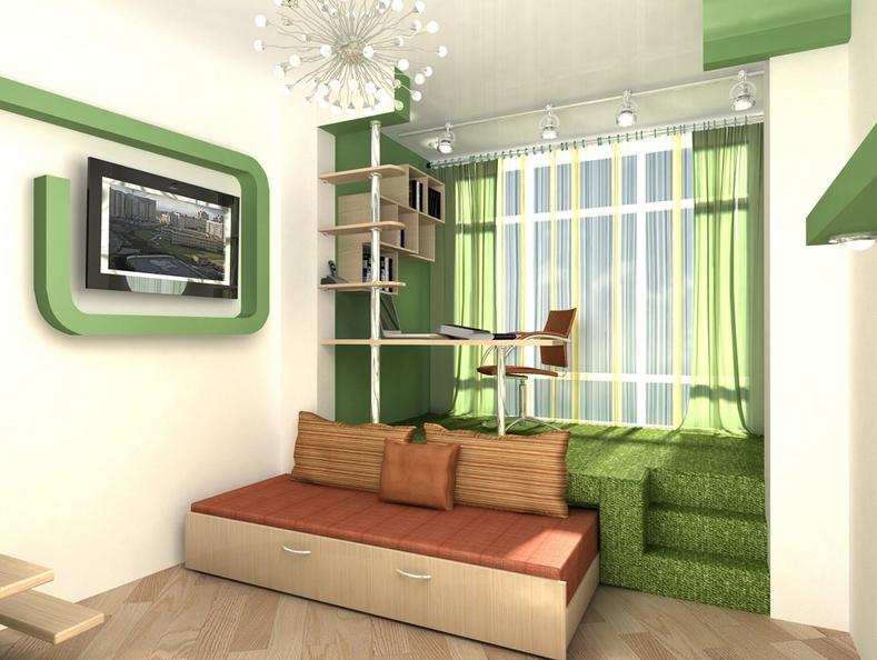 Кровать, расположенная под подиумом