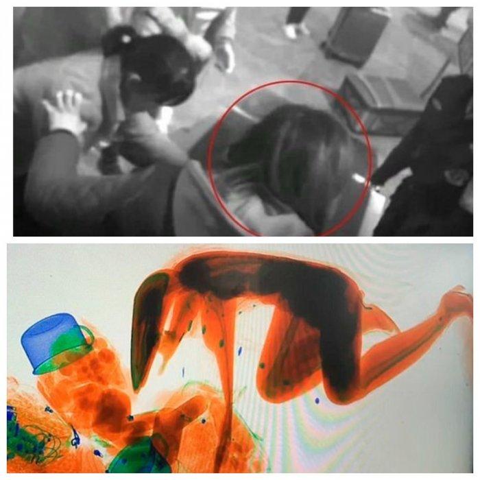 Китаянка залезла в сканер для багажа и стала произведением искусства