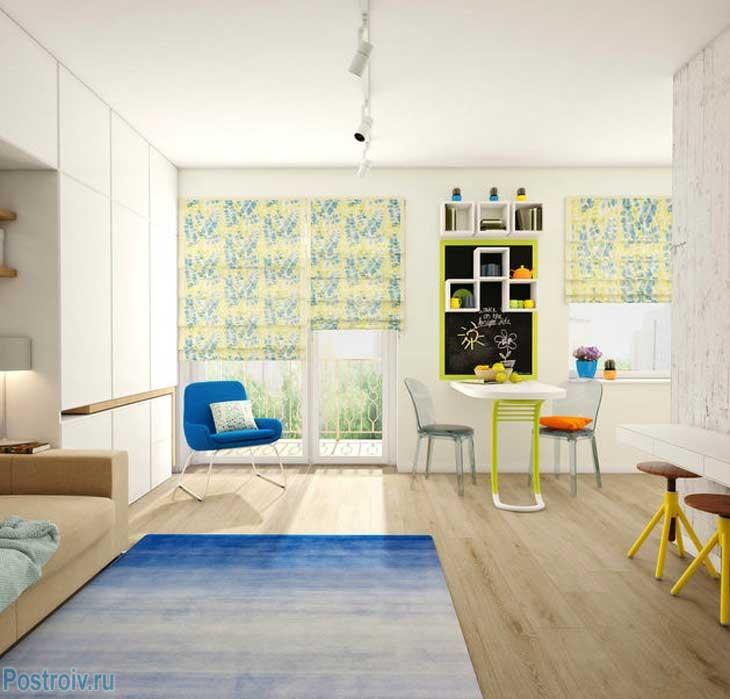 Сочный вариант зонирования цветом однокомнатной квартиры