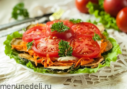 Салат из кабачков с помидорами