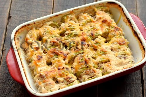 кабачки с фаршем и сыром запеченные в духовке