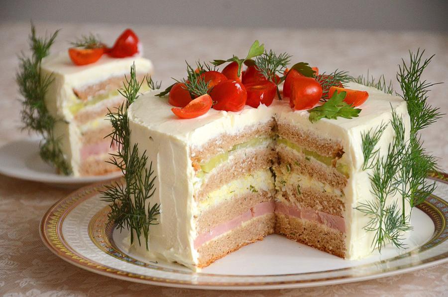 Сытный закусочный торт с ветчиной. Рассыпчатое печенье с цедрой - просто и быстро