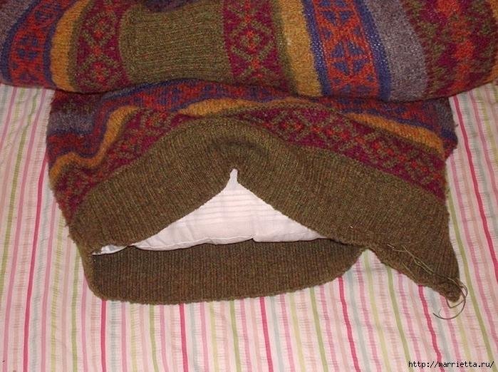 Кроватка для кошки из старого свитера. Мастер-класс (6) (700x522, 328Kb)