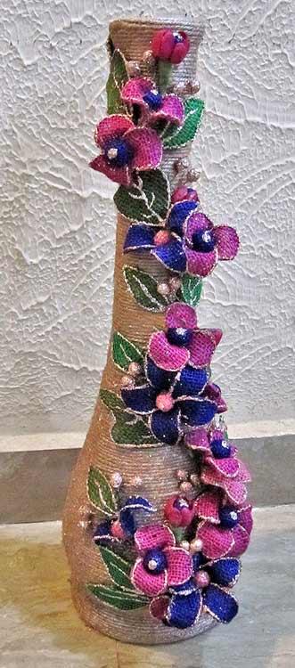 Декор вазы цветами из ткани своими руками