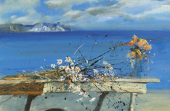 Серебро и алые блики на лазури - изысканные и утонченные цветочные натюрморты Сергея Черкасова