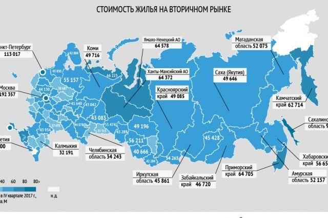 Сколько стоит жилье в регионах России? Инфографика