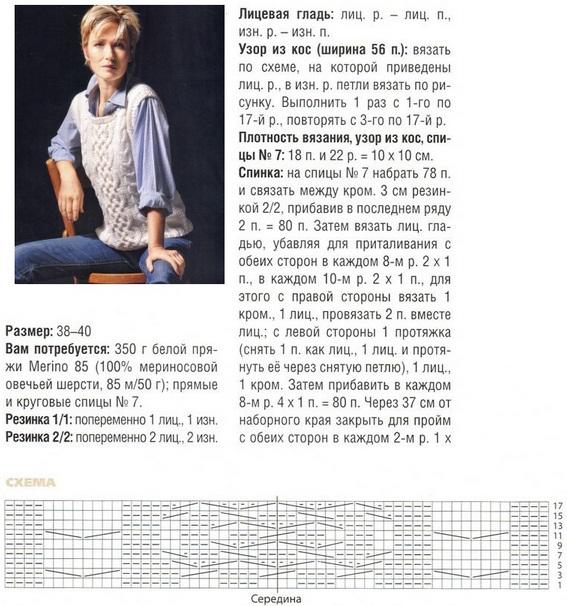 Жилет женский вязание спицами схемы 12