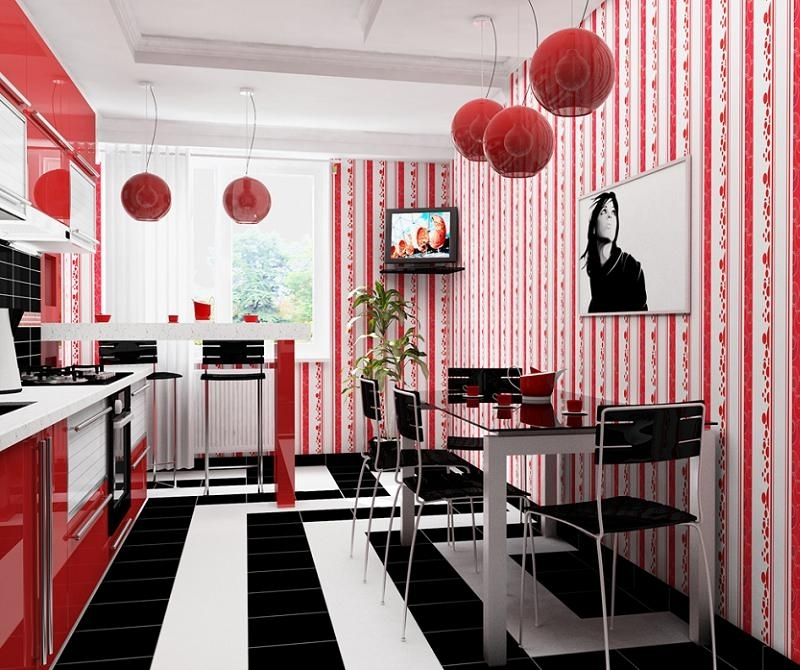 Интерьеры с красной кухней