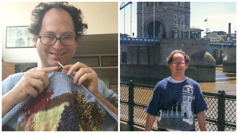 Для того, чтобы справиться с болезнью, парень вяжет свитера с изображением всех мест, где он побывал