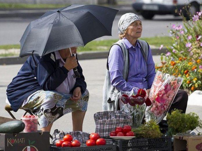 Бабуля на обочине торгует по…