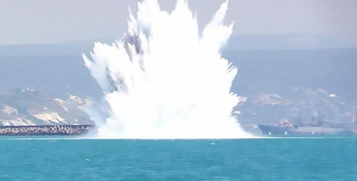Уничтожение мины ВОВ под Севастополем