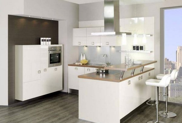 Кухня с барной стойкой и панорамными окнами