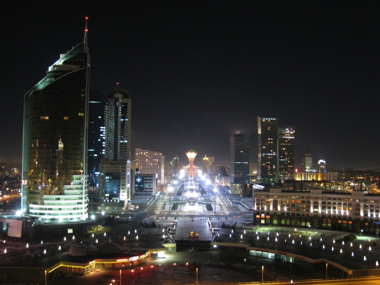 Ночная Астана Централазия, астана, мегаполис, скайлайн