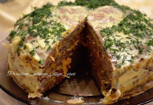 ПП- Печеночный торт с йогуртовой пропиткой.