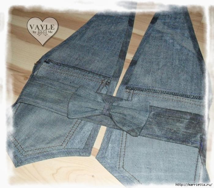 Как сшить жилет из старых джинсов (31) (700x615, 373Kb)