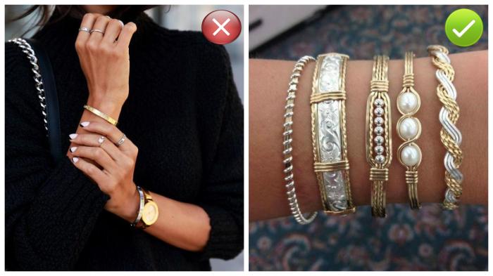 Нельзя носить золотые и серебряные украшения вместе.
