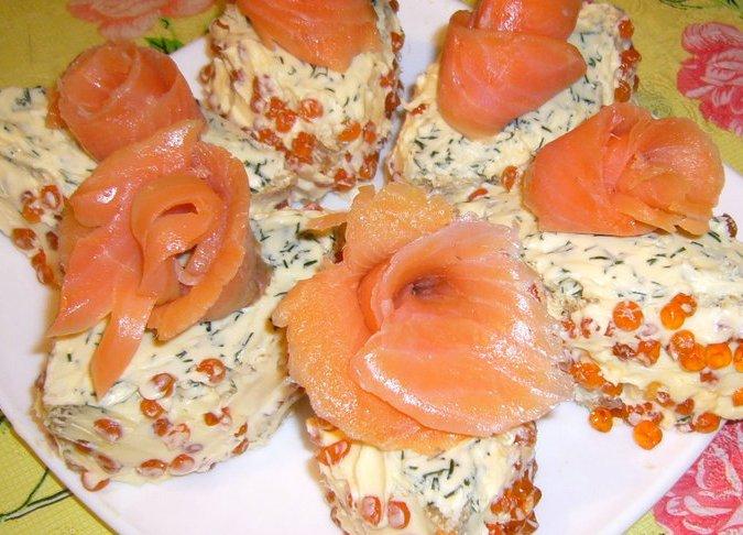 Бутербродное пирожное «Икорная сказка»