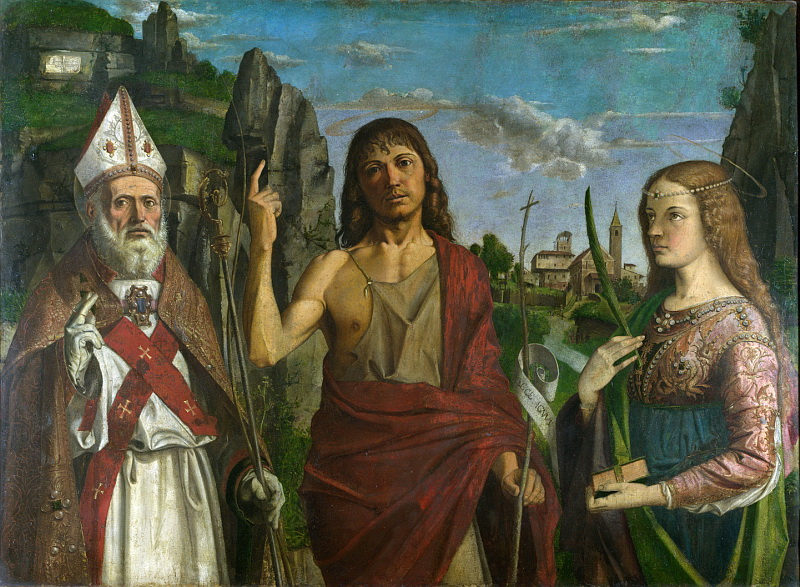 Bartolomeo Montagna - Saint Zeno, Saint John the Baptist and a Female Martyr. Национальная галерея, Часть 1