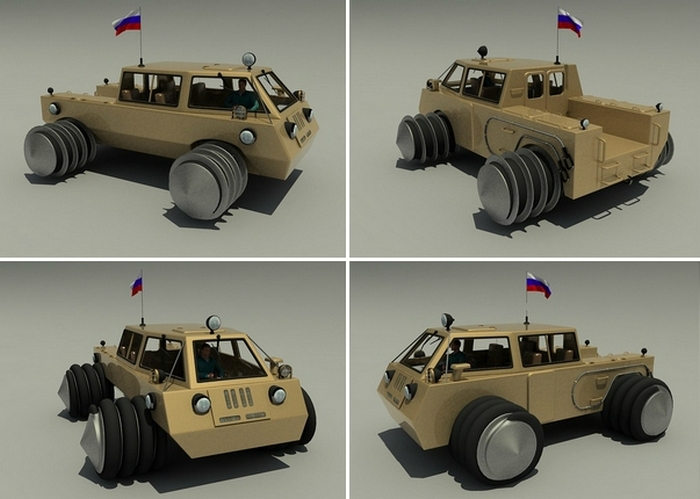 Российский амфибия-винтоход TESH для поездок по тундре и асфальту