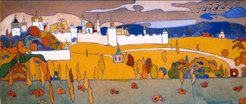 кандинский осенний пейзаж с лодками