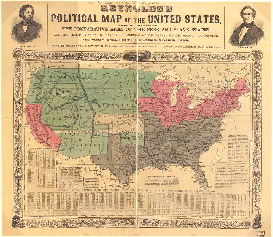 Политическая карта США перед войной - красным выделены свободные штаты, зеленым - территории, которым предстоит стать штатами, или свободными или рабовладельческими