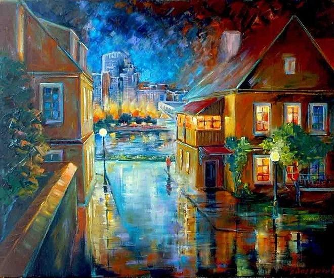 Отражение города. Живопись Романа Федосенко