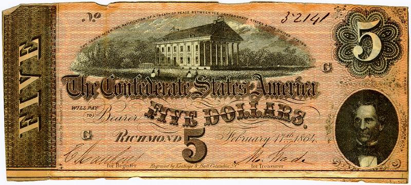 Он же на 5 долларовой купюре. Такую купюру нашли в бумажнике у убитого Линкольна. Согласно легенде пятерку преподнесли ему в подарок на улицах поверженного Ричмонда. Дэвис пережил своего оппонента - два года отсидел в тюрьме, выйдя на на свободу под залог стал президентом, но уже не страны, а страховой компании