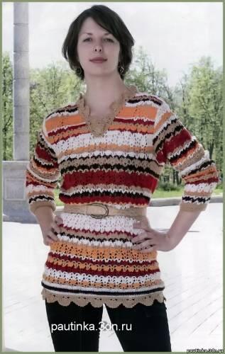Вязаный удлиненный пуловер