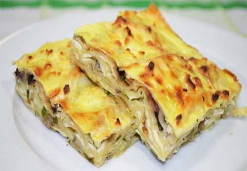 Пирог с грибами из лаваша рецепт