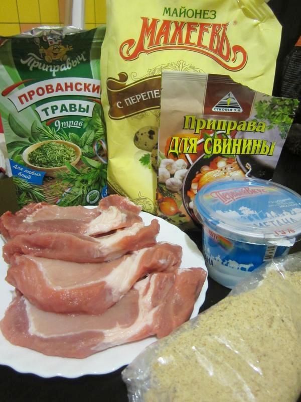 ингредиенты для отбивных и маринада к ним. пошаговое фото этапа приготовления свиных отбивных