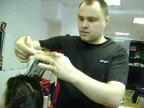 переход на длинных волосах . Парикмахерское дело.