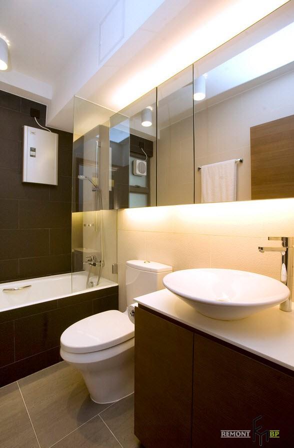 Зеркальная стена над умывальником в ванной
