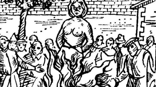 Мерга Бин Немецкий охотник за ведьмами (по совместительству аббат и мэр города Фульда), Бальтазар фон Дернбах, арестовал Мергу Бин по обвинению в убийстве собственного мужа колдовством. Беременную вдову от пыток не освободили — инквизиция сочла отцом будущего ребенка самого дьявола. Мергу быстро приговорили и сожгли, после чего Дернбах вошел во вкус и следующие три года гонялся за ведьмами по всему Гессену, в результате чего казнили еще 250 человек. Вошедшие в историю Суды над ведьмами Фульда закончились лишь со смертью самого аббата.