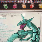 By request of my 4th graders, Rayquaza drawn by me colored by them on whiteboard