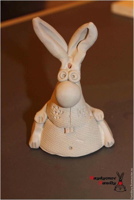 Сувенирные зайцы из глины (теста). Мастер-класс