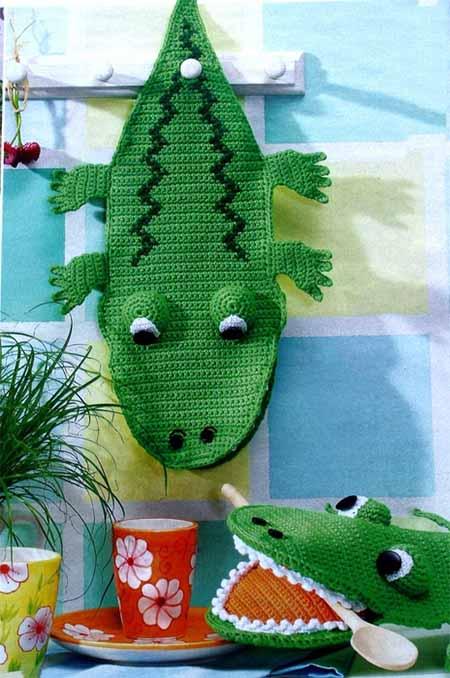 прихватка крокодил