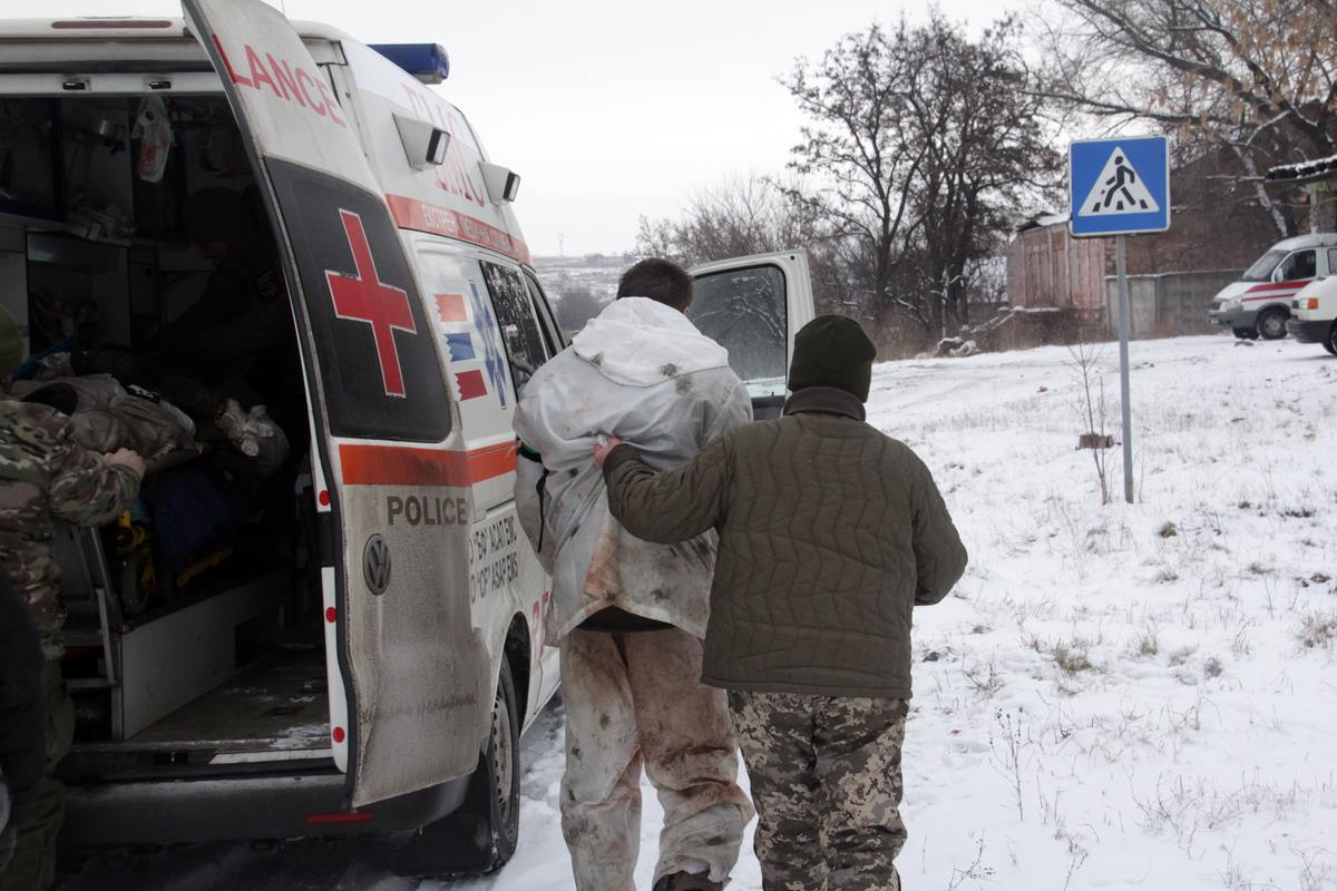 Украинские пленные после бое…