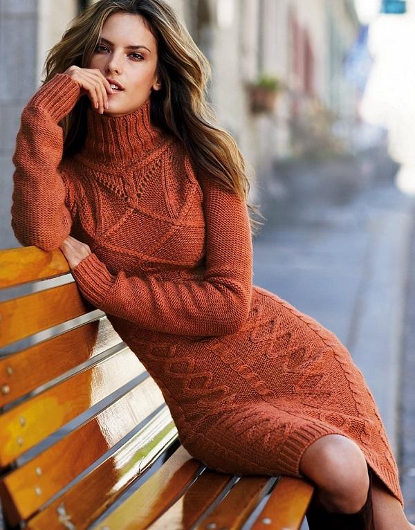 вязаное платье для зимы, мода и стиль