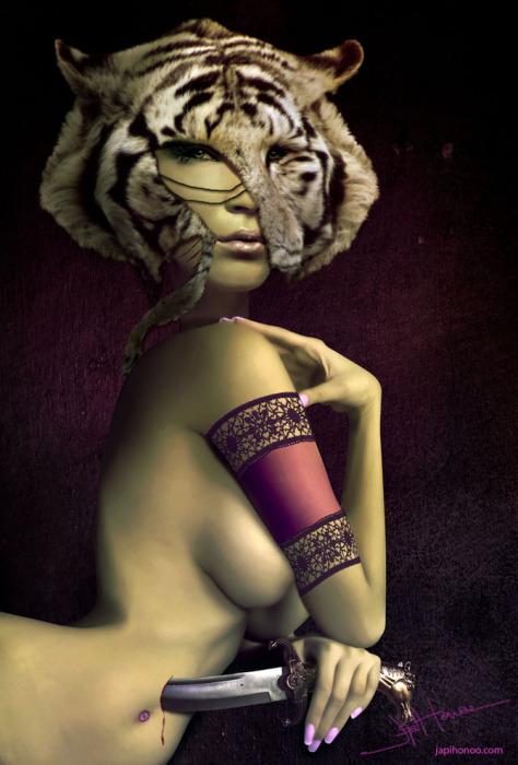 Девушка в маске тигра. Автор работ: Япи Хону (Japi Honoo).