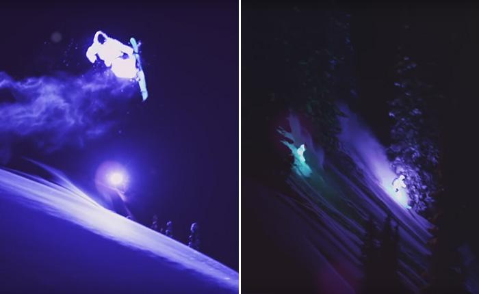 Восхитительное зрелище: два лыжника совершили ночной спуск в светодиодных костюмах