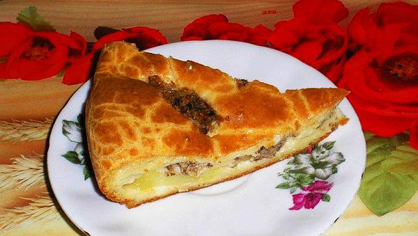Пирог «Быстрый и вкусный»  из теста на кефире со сметаной и майонезом