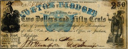 Еще одна купюра из Миссури с нестандартным номиналом - 2 доллара 50 центов